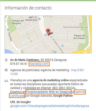 enlace google plus local