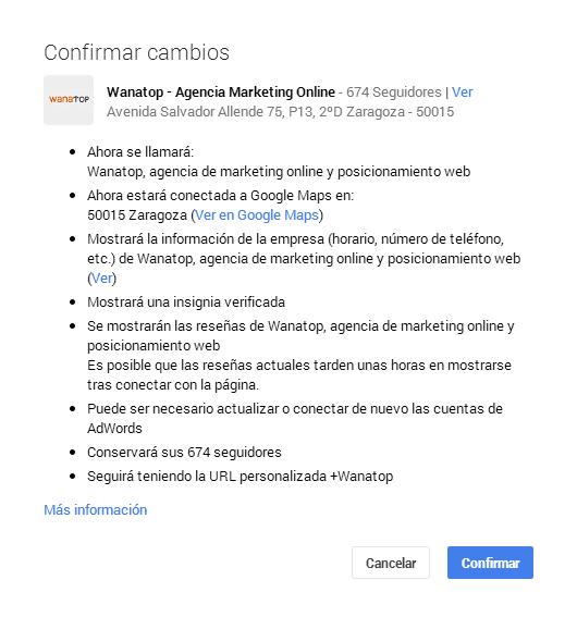 cambios google plus