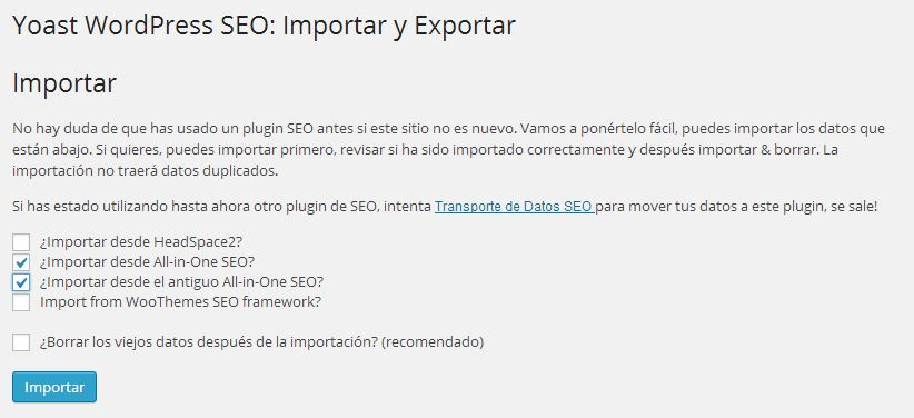 Importar Exportar SEO