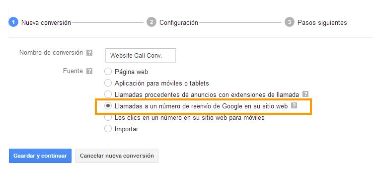 Como Seguir conversiones de llamada
