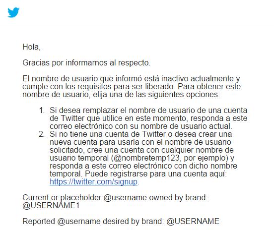 email twitter reclamo usuario