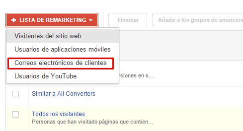 Listas remarketing de Adwords con emails