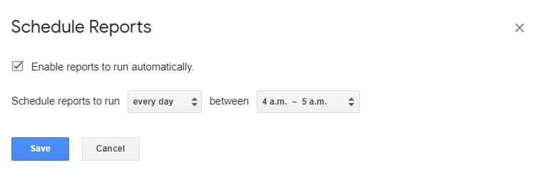 schedule reports ¿Cómo crear un Dashboard SEO con Google Spreadsheets?
