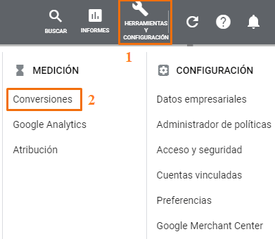 configuracion conversion google ads