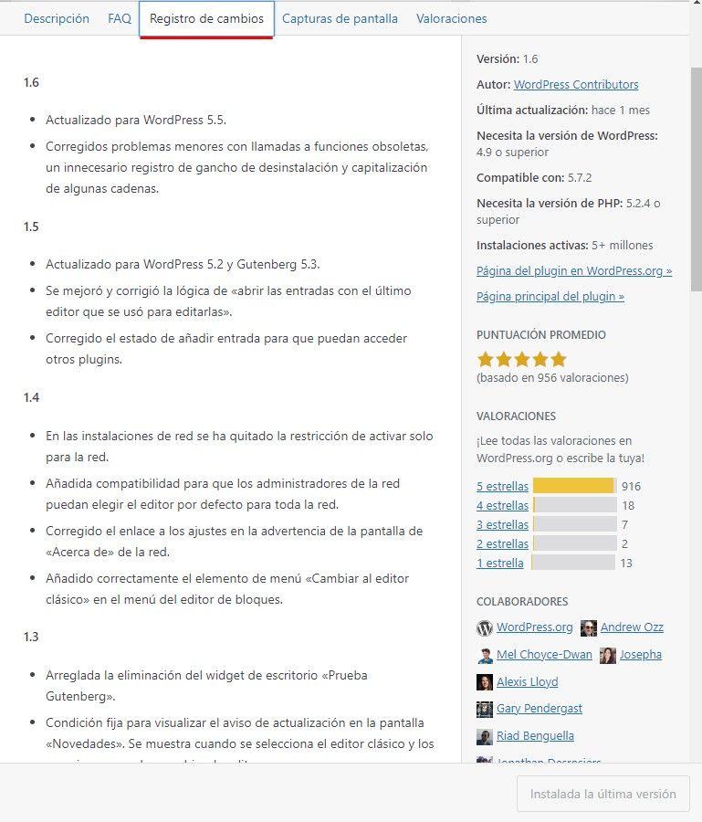 cambios plugin Cómo actualizar WordPress sin morir en el intento