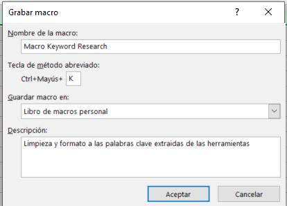 como hacer keyword research grabacion macro excel 2 Keyword research: Guia para realizar tu propio estudio de palabras clave